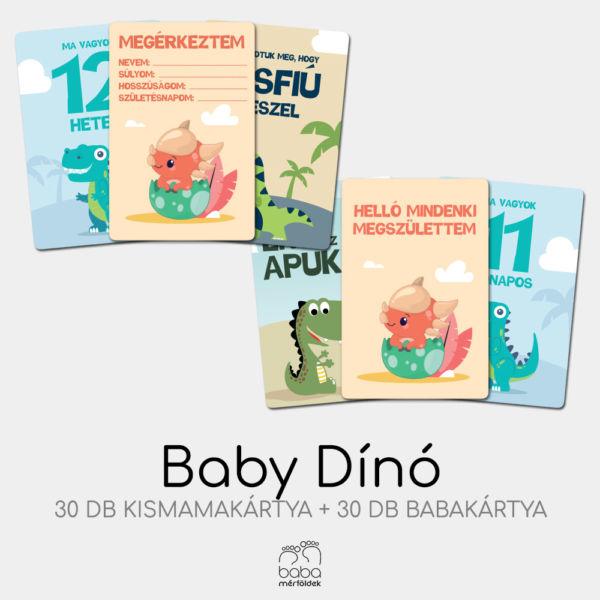 Baby Dínó mérföldkő kártya szett | BabaMérföldek | Baba kismama mérföldkő kártyák | Babaváró ajándék kismamáknak
