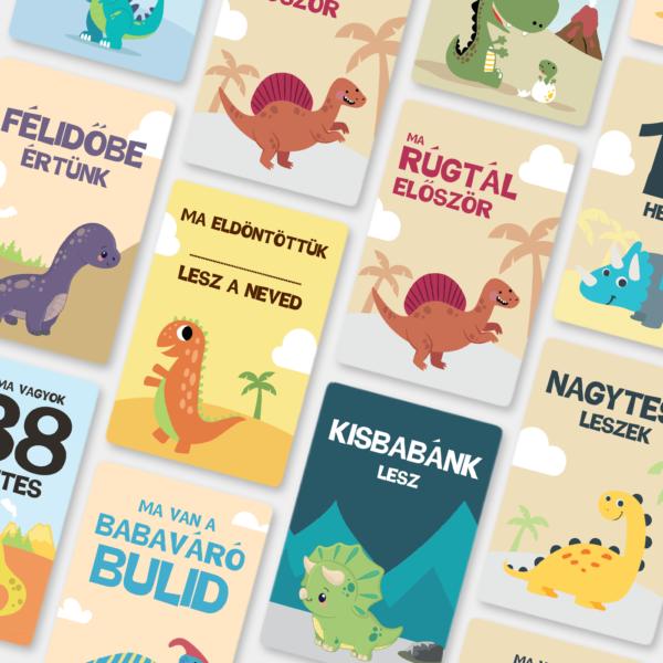 Baby Dínó kismama mérföldkő kártya | BabaMérföldek | Kismama mérföldkő kártyák | Babaváró ajándék kismamáknak